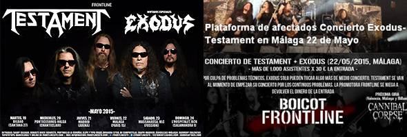 Testament  y Exodus: concierto del 22 de mayo 2015 en Málaga